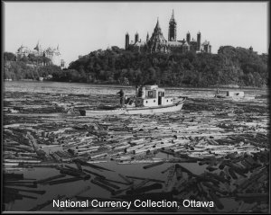 The last Canadian Dollar bill featured the Ancaster (smaller) and the Missinaibi (larger) as captured in a black & white 1963 photograph by Malak Karsh  entitled Paper & Politics. The lumber tugs are re-assembling a broken log boom on the Ottawa river just below the Parliament Buildings.